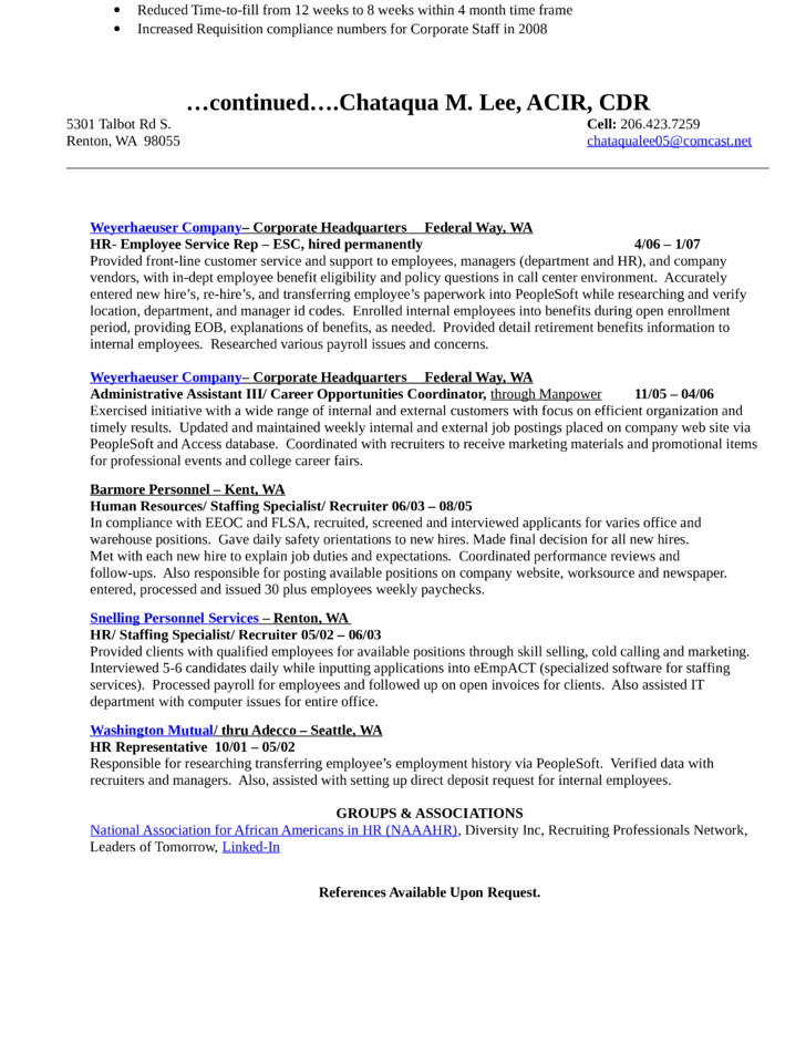 Combination Recruiting Coordinator Resume Template page 2