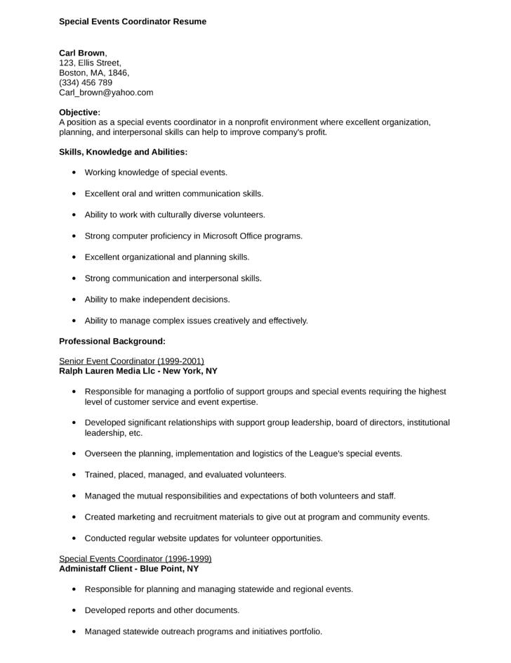 combination special events coordinator resume template