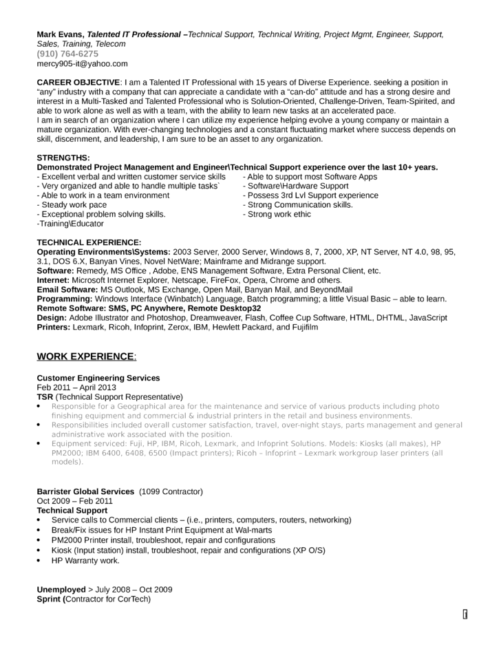 Customer Service Technical Support Resume International Customer