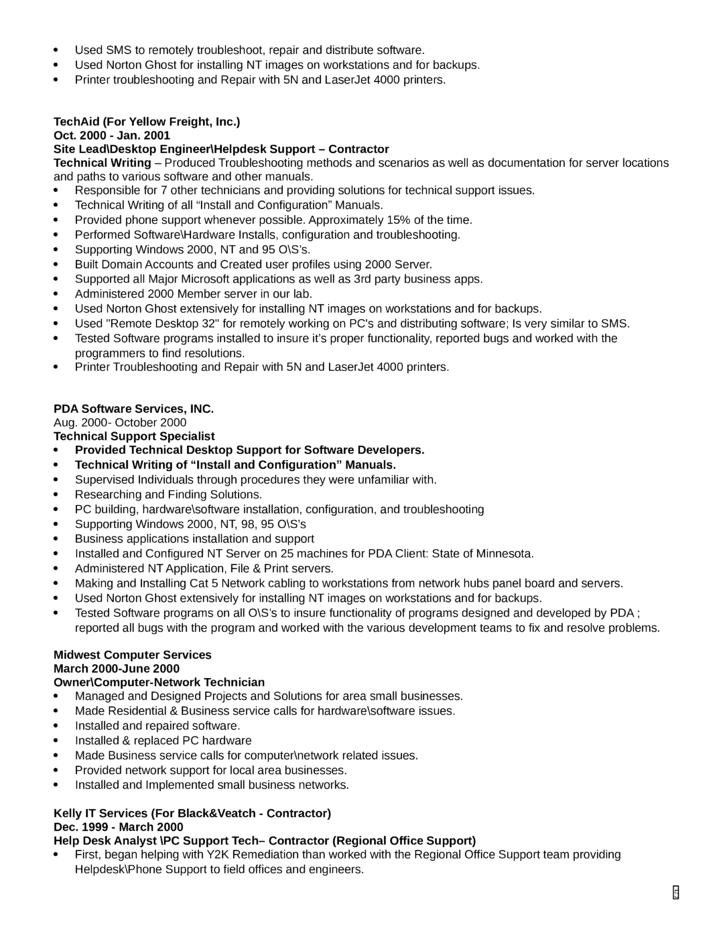 Technical Support Engineer Resume Download
