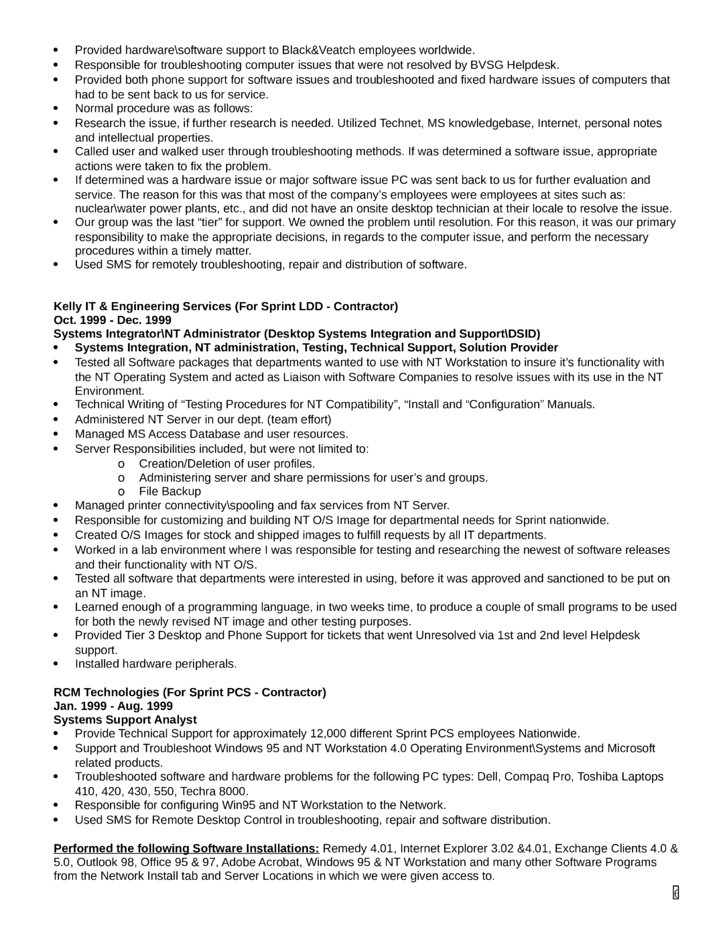 combination technical support specialist resume template page 6