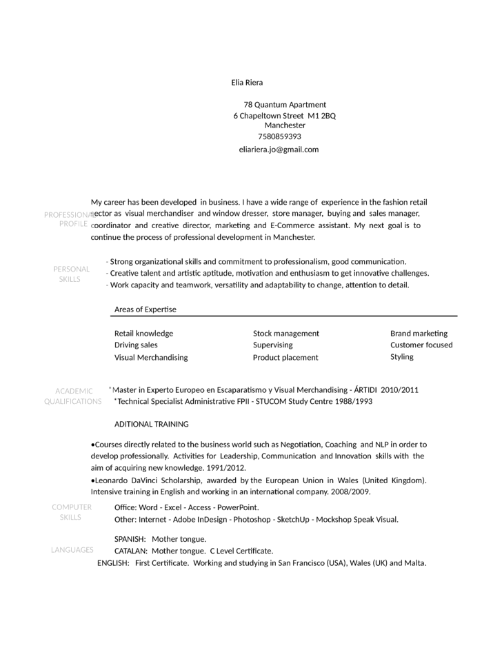 Merchandiser Job Description Resume,sample resume of visual ...