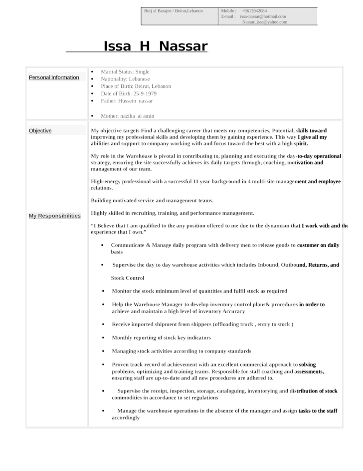combination-warehouse-supervisor-resume-l1 Job Application Form In Lebanon on blank generic, free generic, part time,