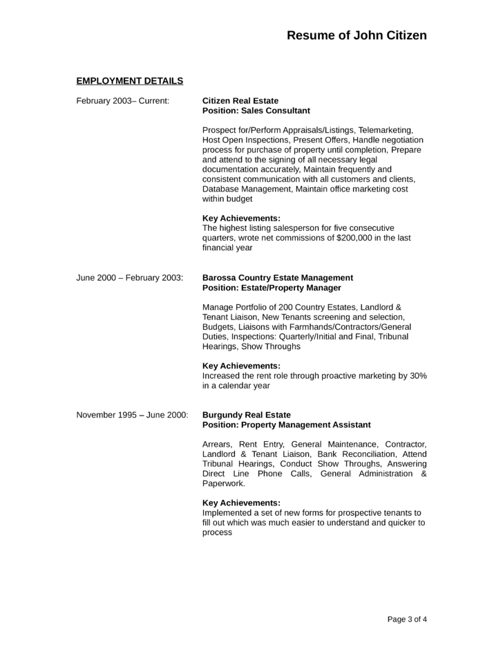 creative assistant property manager resume page3 - Real Estate Manager Resume