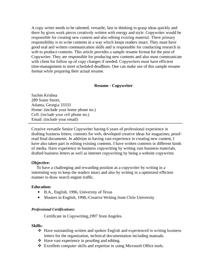 sle resume of a copywriter