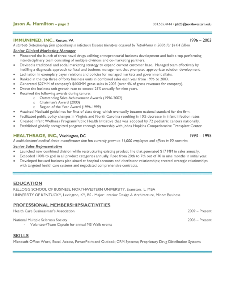creative director of sales resume template page 2