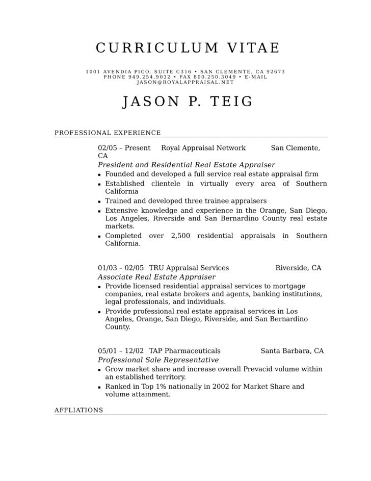 Real estate appraiser resume