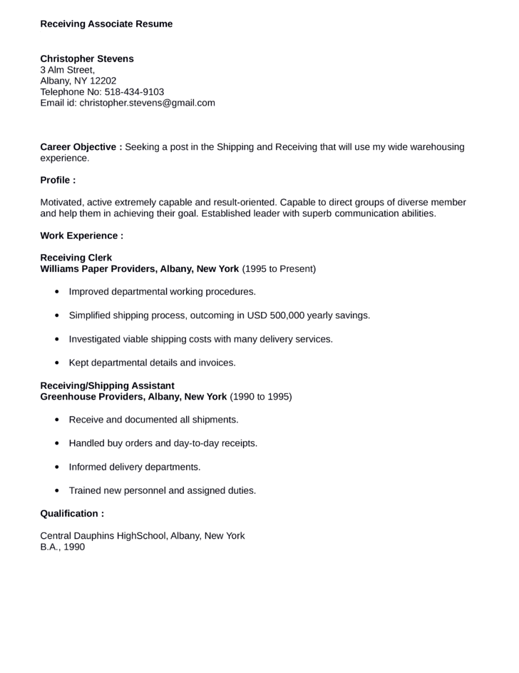 Warehouse Shipping And Receiving Resumes