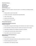 Easy Route Driver Resume