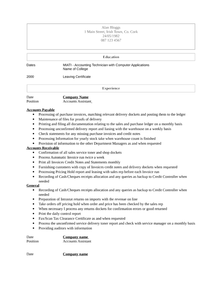 accountant assistant resume the accounting assistant resume here