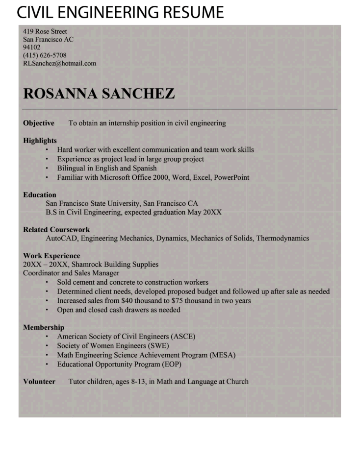 entry level freshers civil engineer resume template