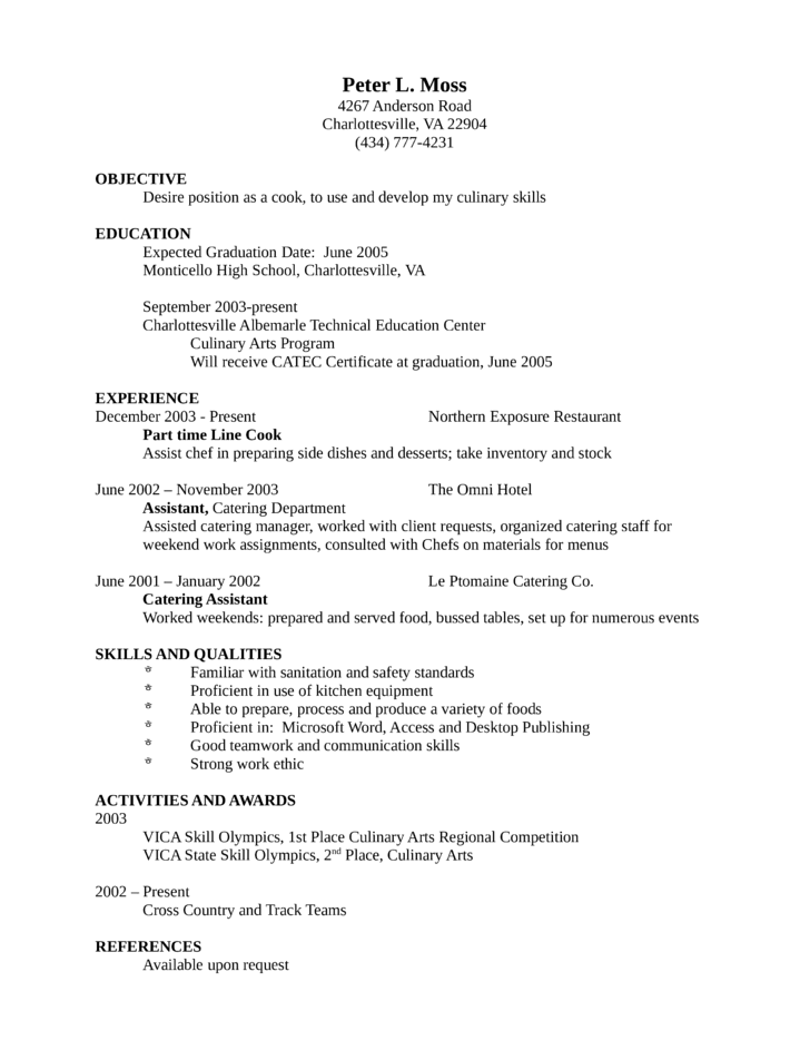 entry level freshers cook resume - Resume Sample For Cook