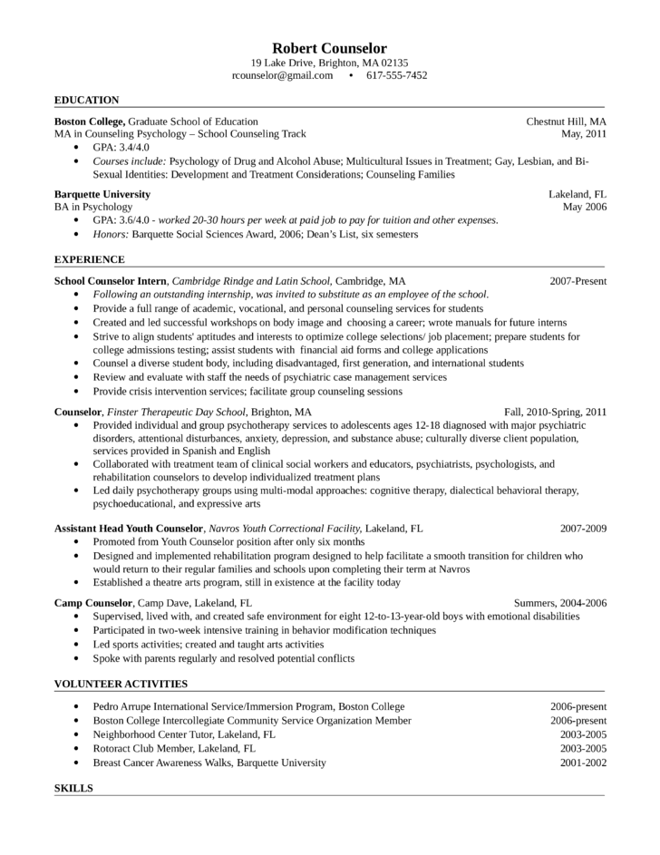 Resume Student Counselor Resume Example For High School Student – Camp Counselor Job Description