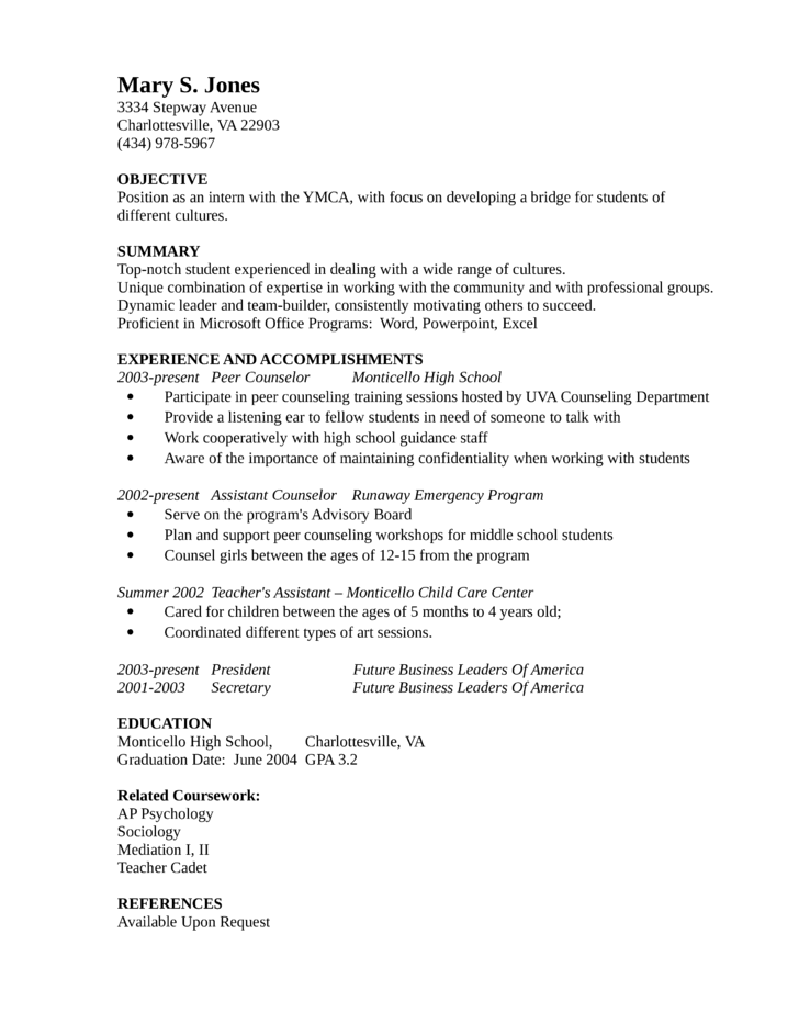 entry level freshers guidance counselor resume template