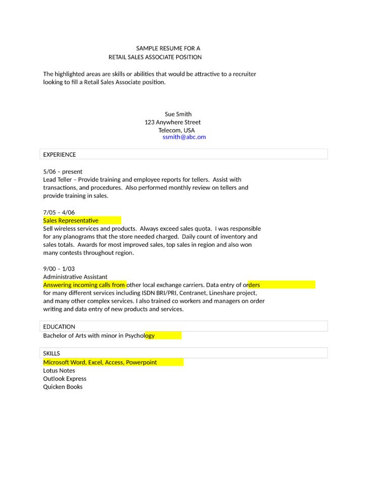 Sales Associate Resume Sample Template LOVESUPPLYCF