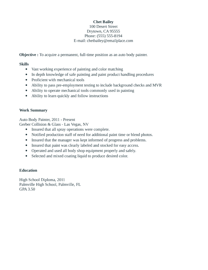 entry level  u0026 freshers painter resume template
