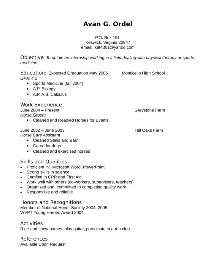 entry level freshers physical therapist resume - Physical Therapy Resume
