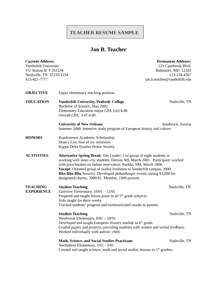 Entry level freshers teacher resume template for Sample resume for teaching profession for freshers