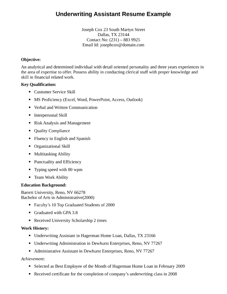 entry level  u0026 freshers underwriting assistant resume template