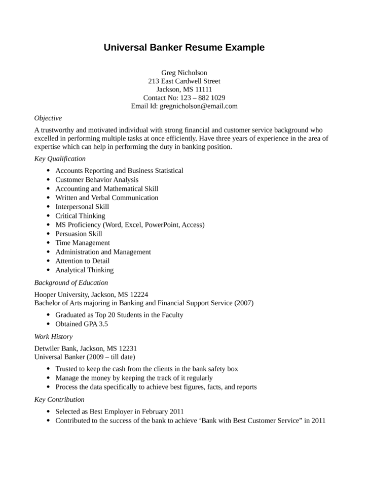 Entry Level Amp Freshers Universal Banker Resume Template