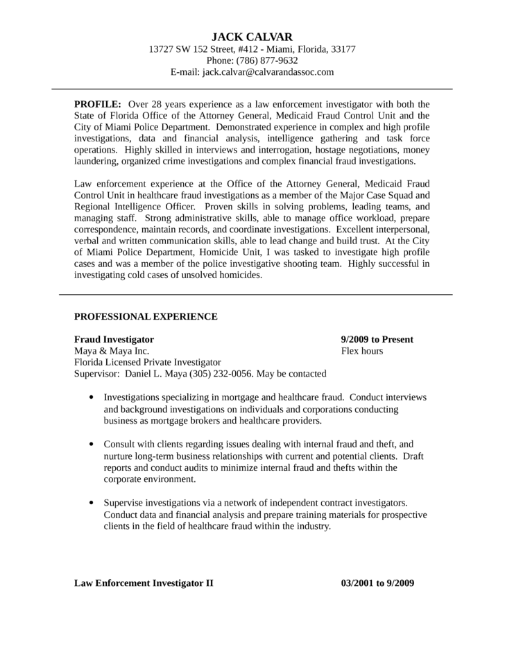 Sample resume investigator