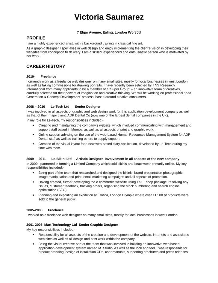 executive designer resume - Freelance Resume Samples