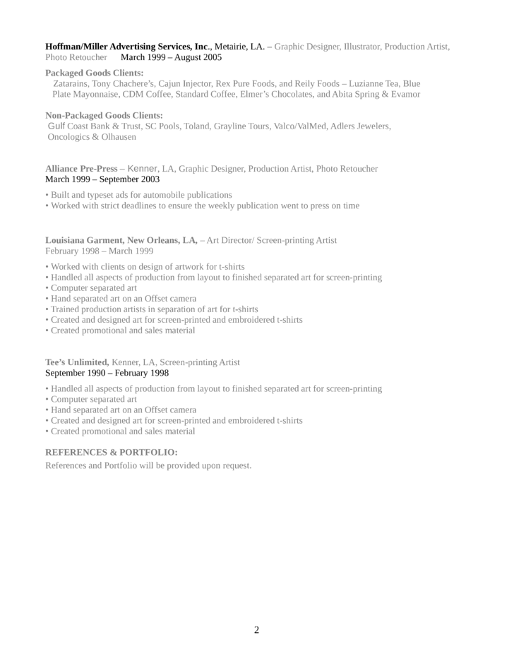 executive graphics designer resume page2 - Graphics Production Artist Resume