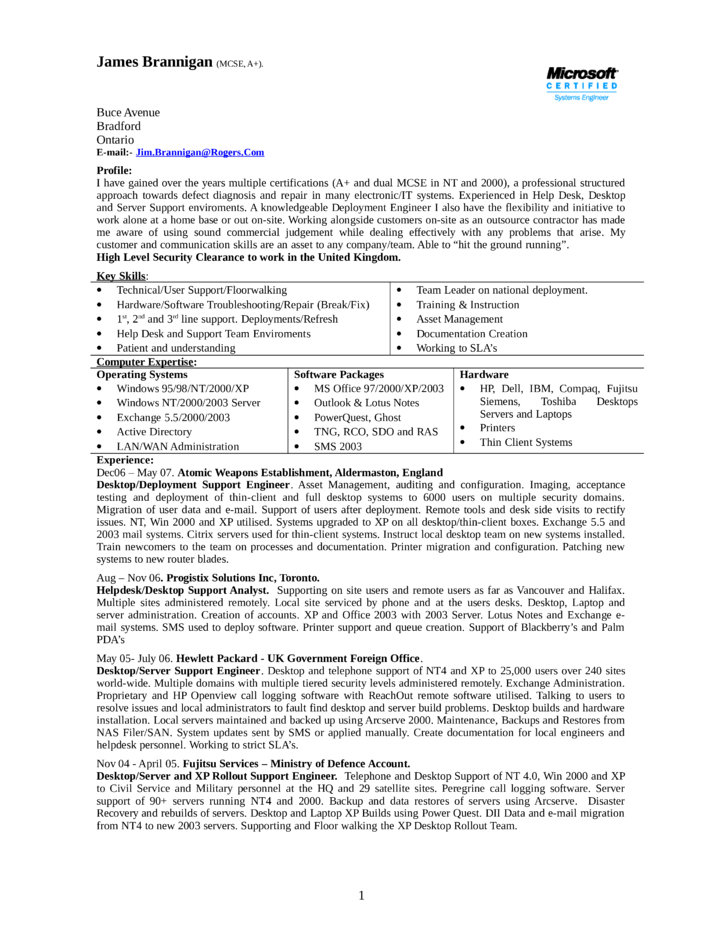 desk technical support resume  seangarrette coexecutive help desk technical support resume l