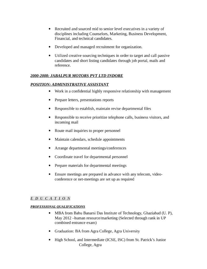 Sample resume for hr executives