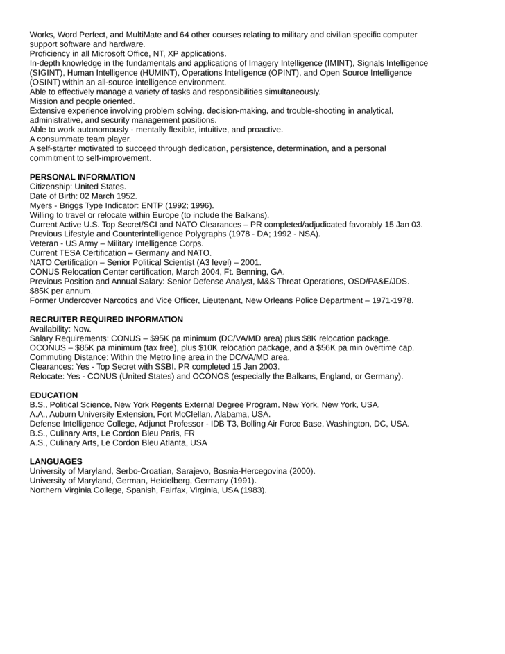 Executive Intelligence Analyst Resume Template | page 2