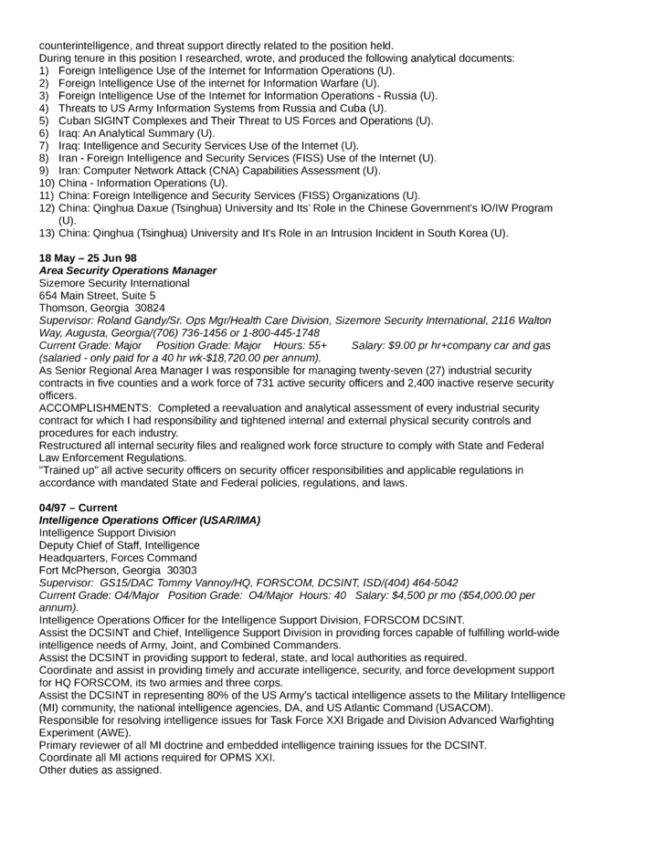 Executive Intelligence Analyst Resume Template | page 9