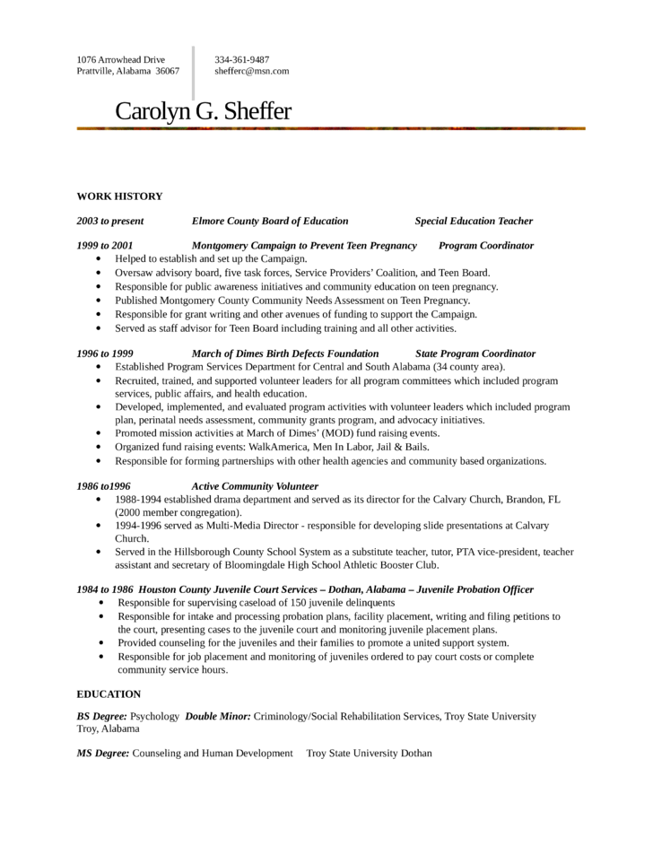 Executive Juvenile Probation Officer Resume Template