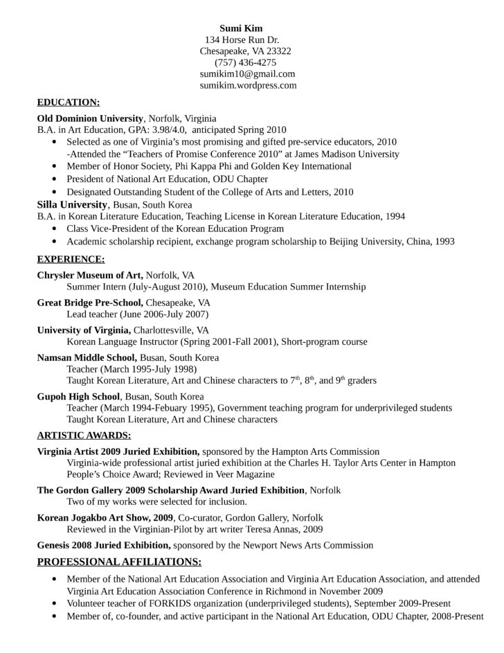 Executive Korean Language Instructor Resume