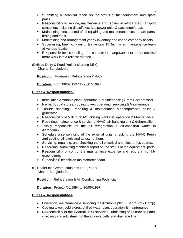 executive maintenance supervisor resume template page 4
