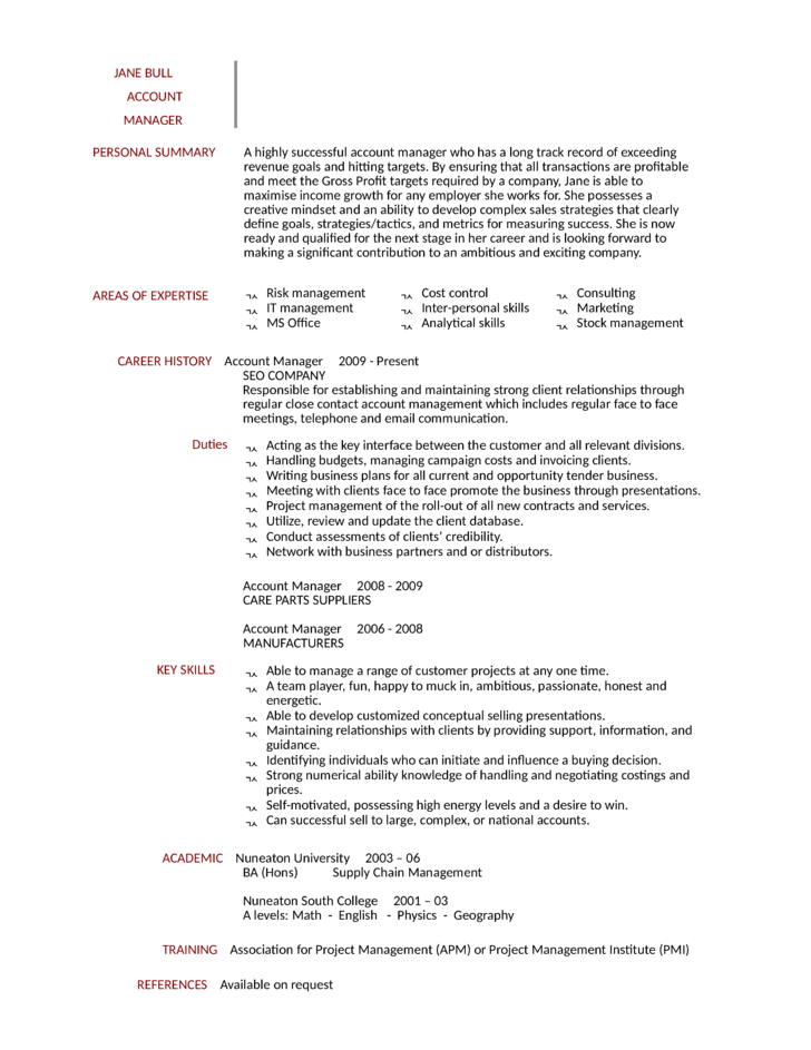 national account manager cover letter