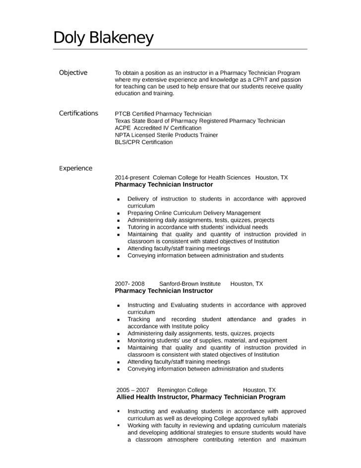 executive pharmacy technician resume template