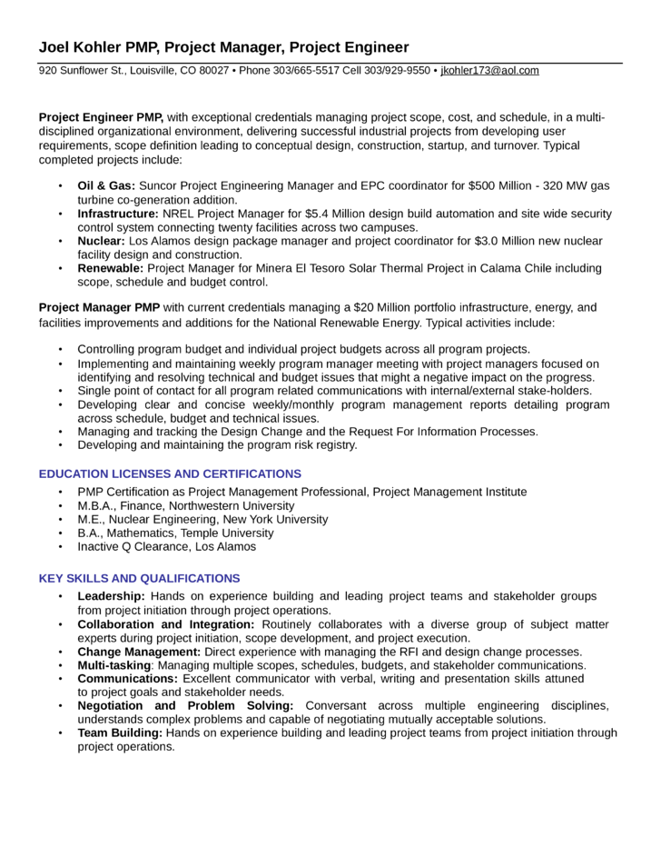 Executive Project Engineer Resume