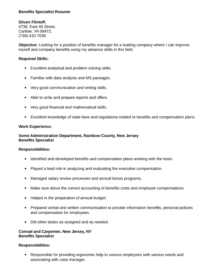 functional benefits specialist resume template