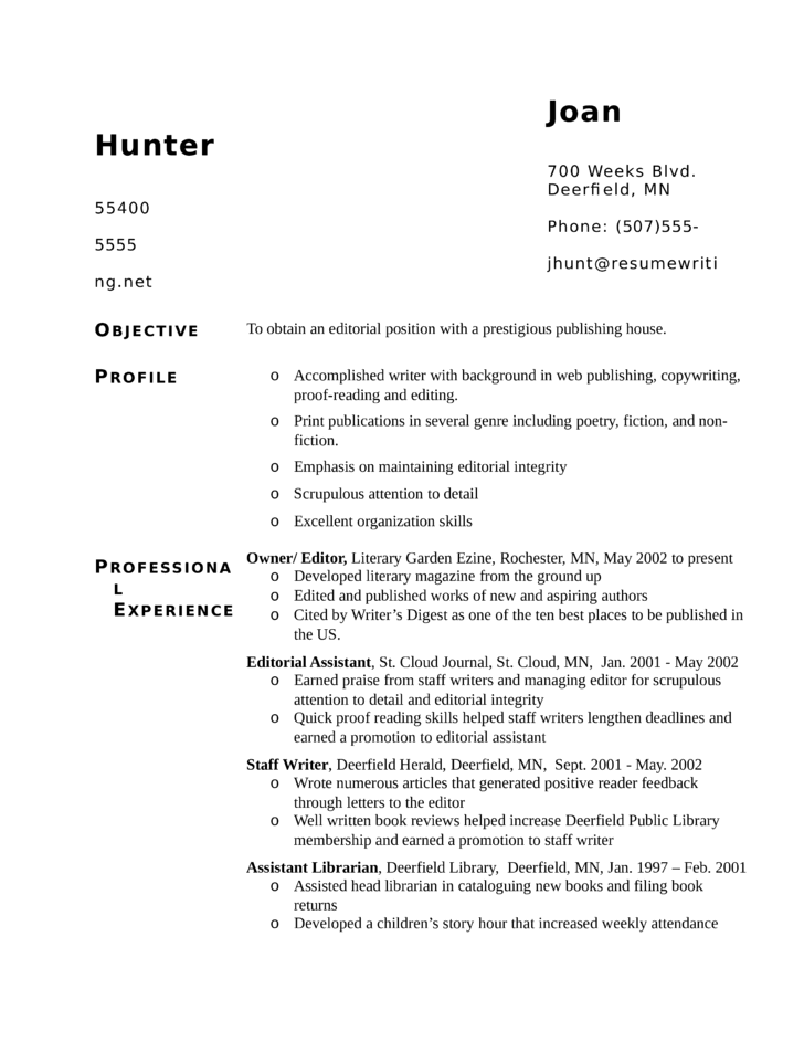 functional editorial assistant resume template