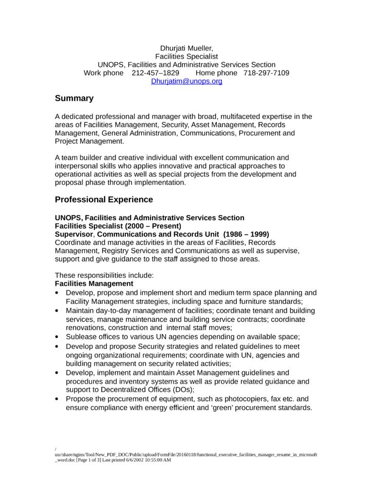 Facility Manager Resume Facilities Maintenance Manager Resume  Facility Manager Resume
