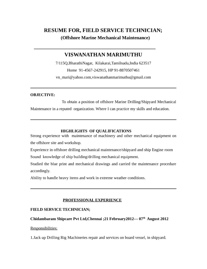 functional field service technician resume template