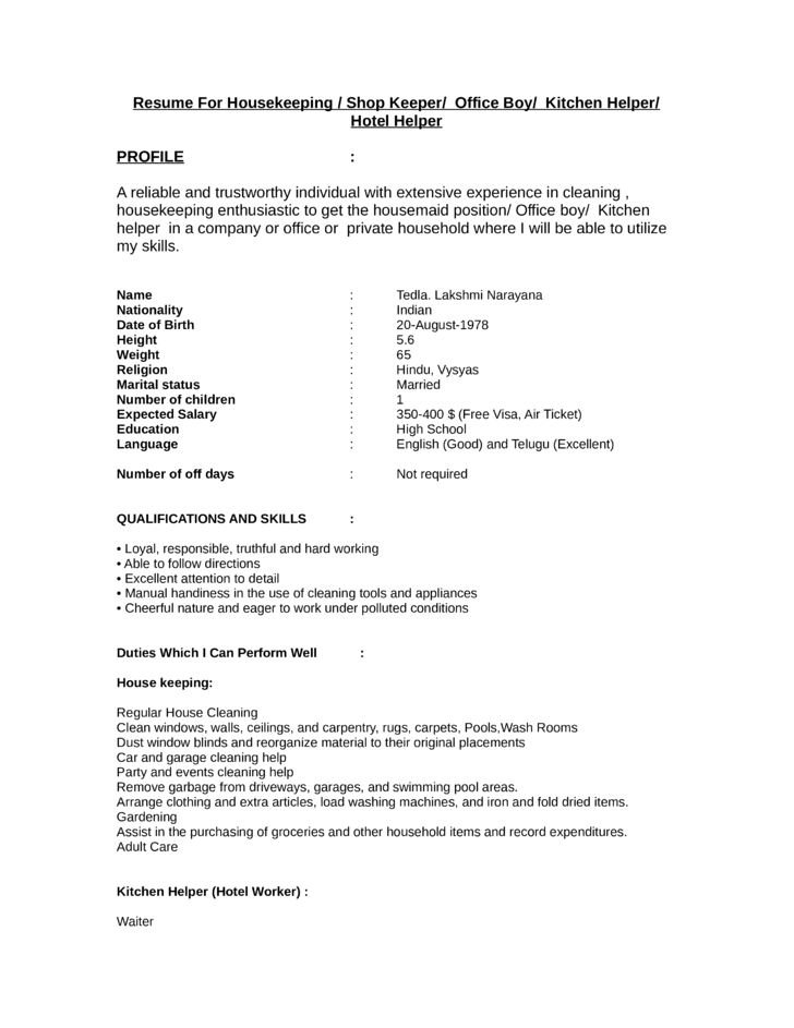 functional kitchen helper resume template