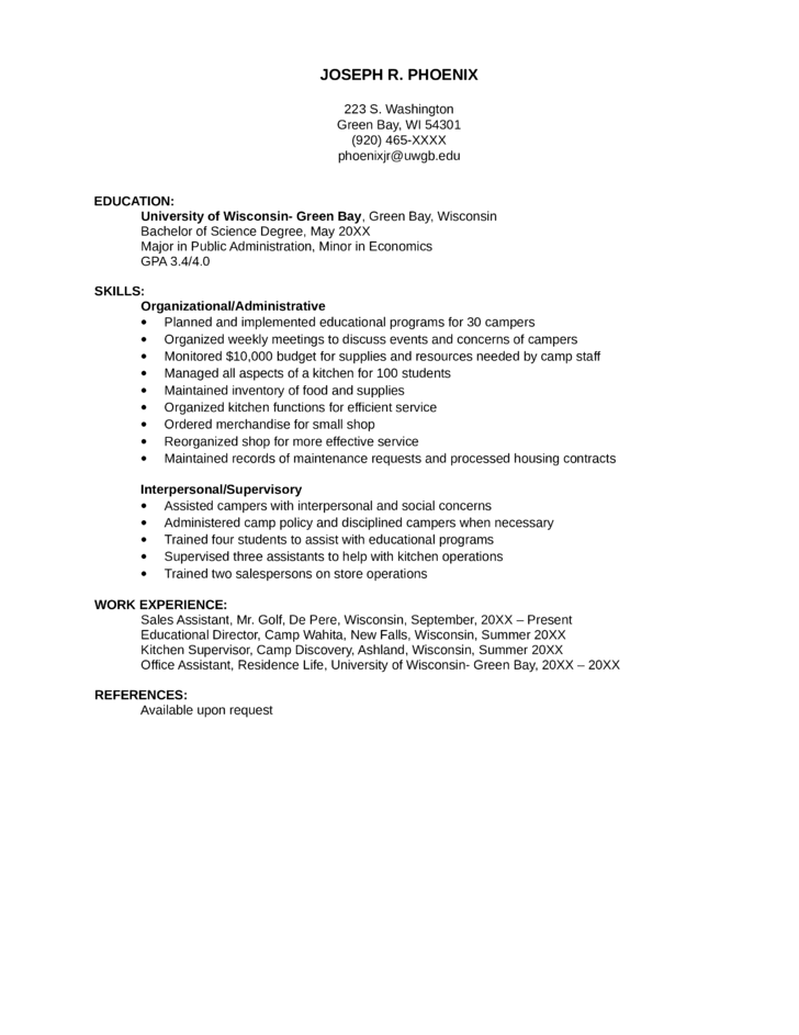 Functional Kitchen Supervisor Resume Template