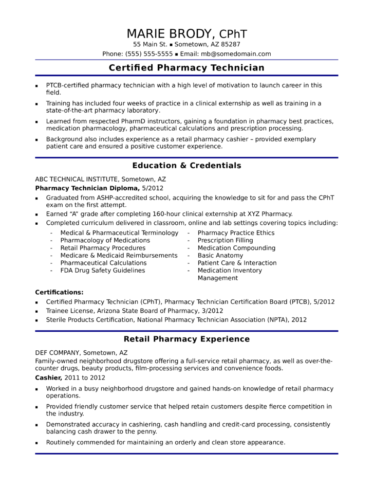 functional pharmacy technician resume