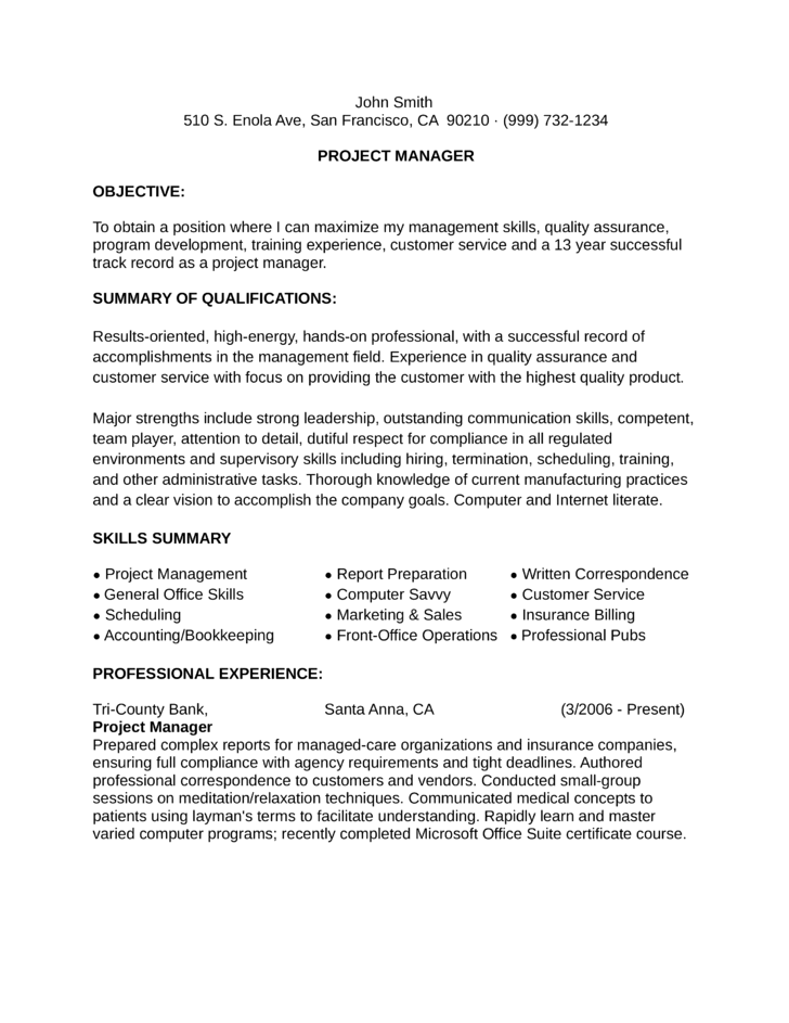 functional project manager resume example template