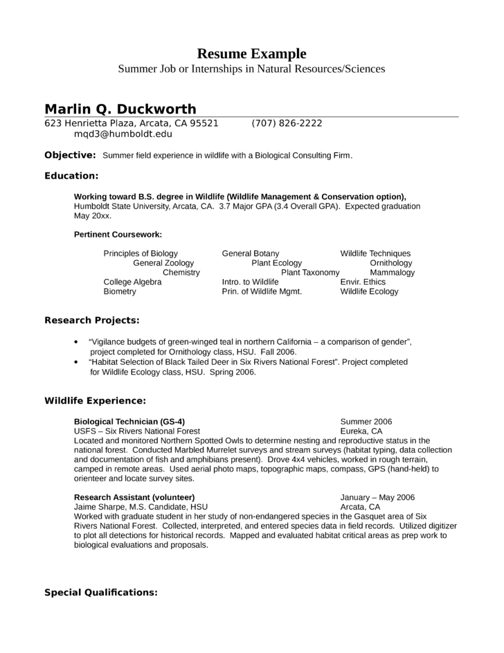 internship wildlife biologist resume example - Sample Wildlife Biologist Resume