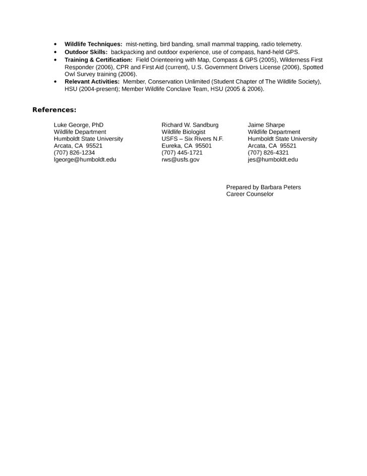 Internship Wildlife Biologist Resume Example Page2