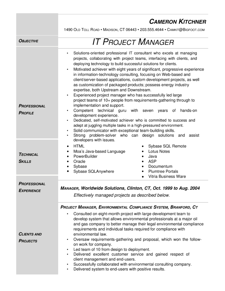 modern it project manager resume template. Black Bedroom Furniture Sets. Home Design Ideas