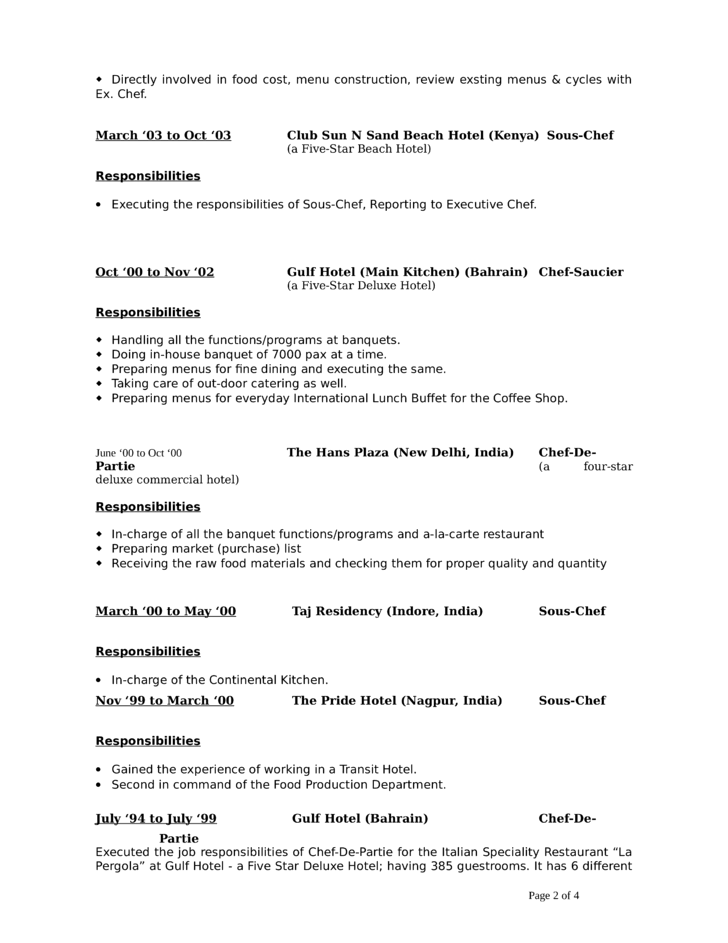modern sous chef resume template