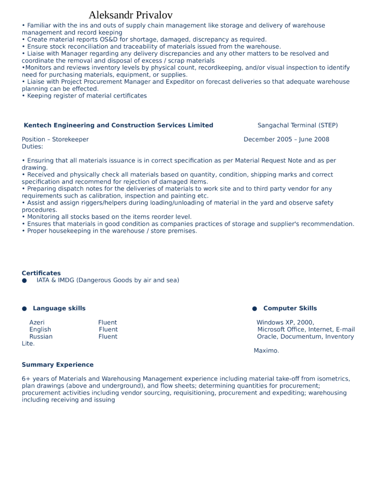 sample warehouse specialist resume. Resume Example. Resume CV Cover Letter